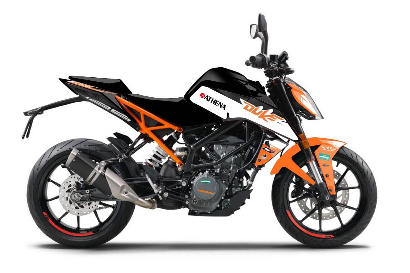 KTM Duke 125 200 390 2018 Aufkleber Satz orange schwarz weiss Dekor Kit Motorraddesign Dekoraufkleber Dekor design