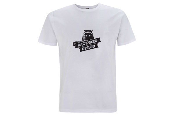 Backyard Design T Shirt Main Racoon Logo Weiss White Front BYD Clothing Motocross MX Tee