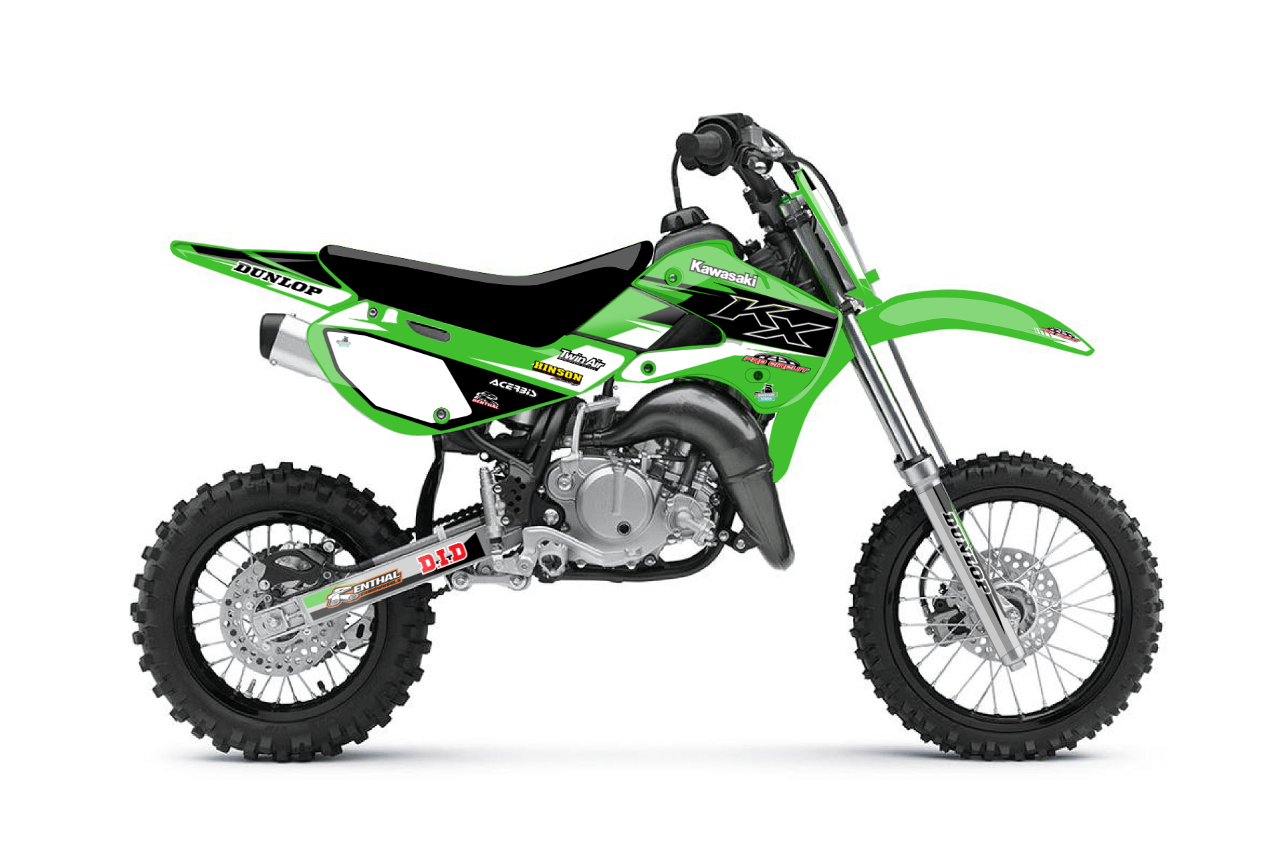 Kawasaki KX65 MX Graphic Kits  This is your first bike to get some experience on the off road tracks. Good handling and a sturdy framework will provide you a good basis to become better and practise as much as possible.