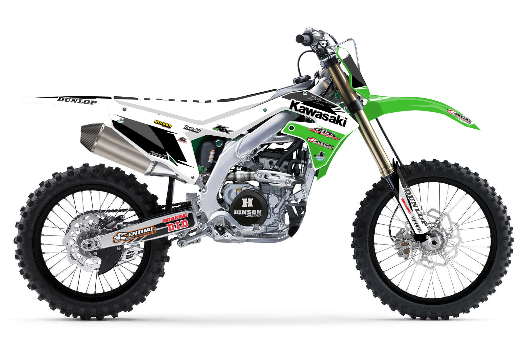 Kawasaki KX250F Graphic Kits  The Kawasaki KX 250F combines a powerful four-stroke engine with a hydraulic operated clutch, an electric starter and a slim and sturdy aluminum frame.