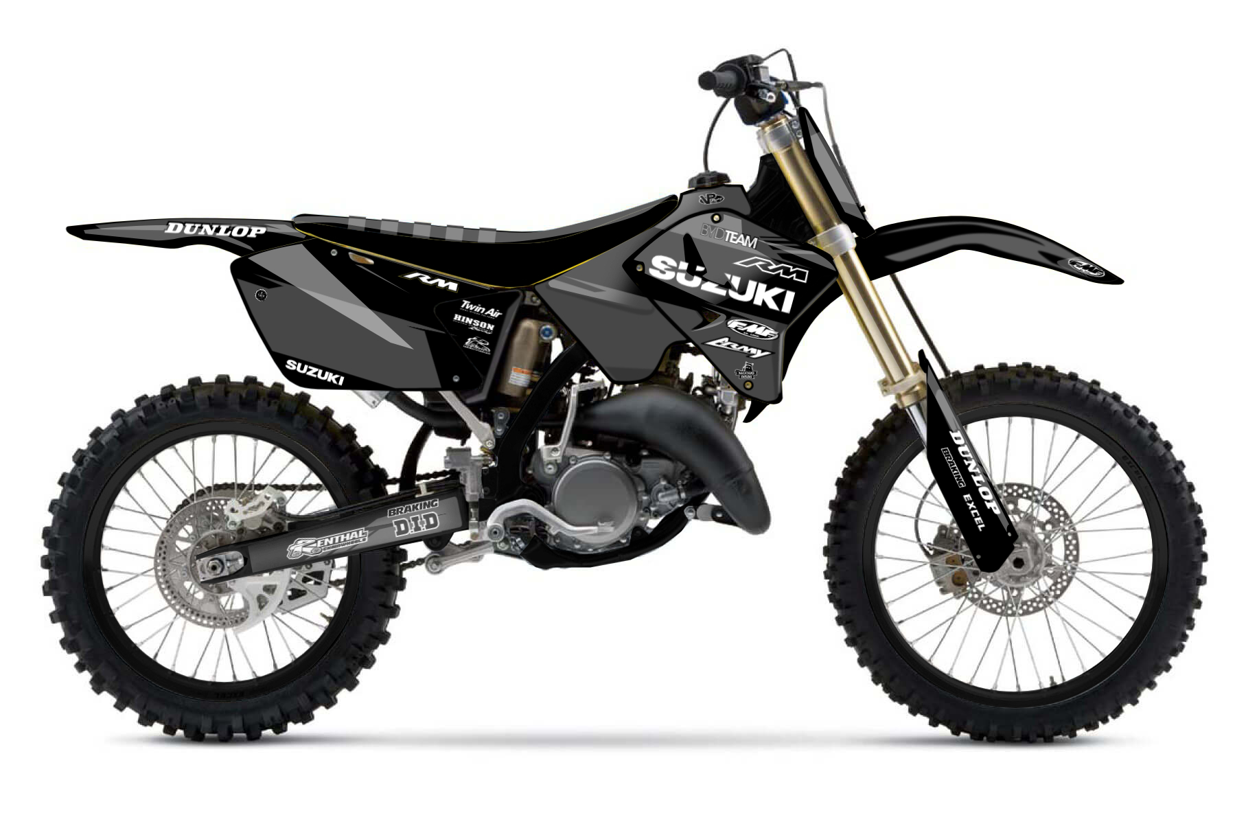 Suzuki RM125 MX Graphic Kits  You got to love the RM125. It is the perfect offroad bike for beginners and all those that love good handling and a lightweight chassis.