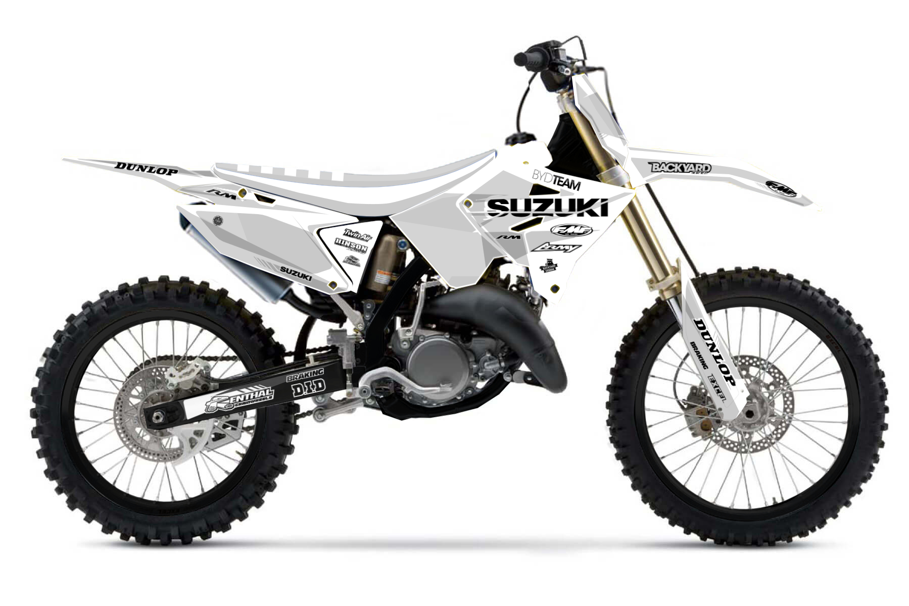 Suzuki RM125 Polisport Restyle MX Graphic Kits  You redesigned your Suzuki RM125 with the Polisport restyle kit? We deliver you the right designs to create your very own graphic kit for your restyled bike.