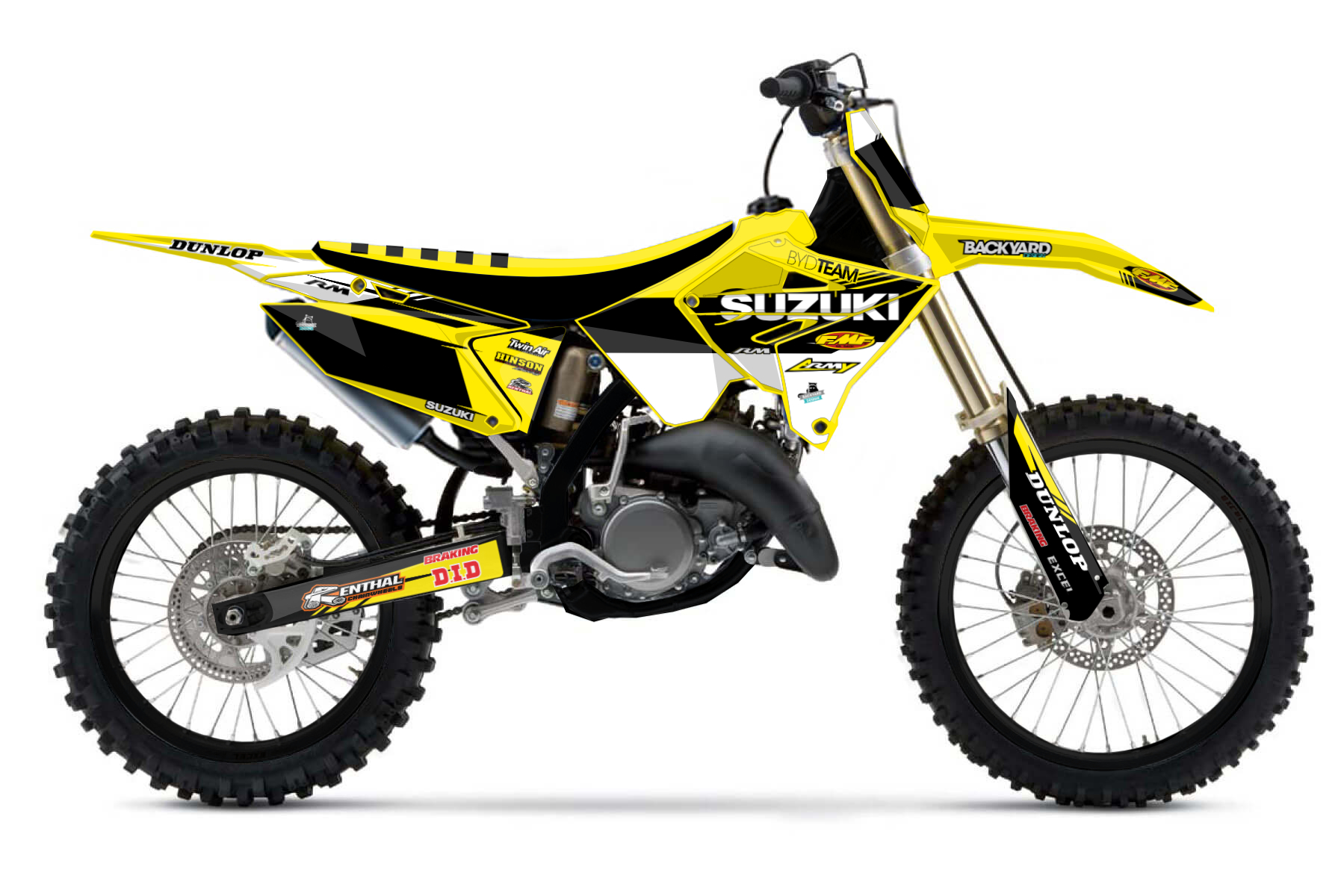 Suzuki RM250 Polisport Restyle MX Graphic Kits  If you restyled your Suzuki RM250 with the Polisport restyle kit, we have the right designs for your graphic kit waiting for you. Just choose your basic design and start creating.