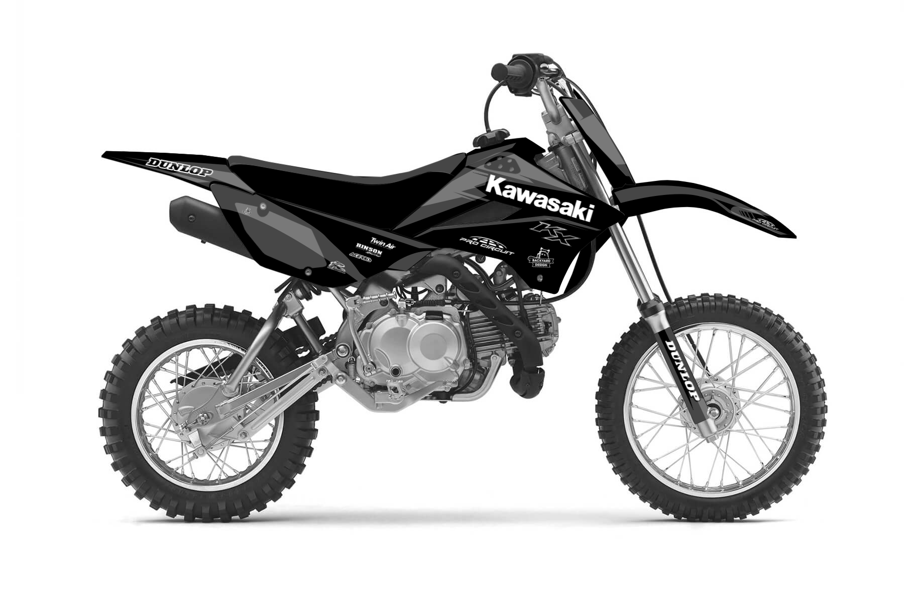 Kawasaki KLX110 MX Graphic Kits  The Kawasaki KLX 110 is the perfect bike for your off road adventure! A transmission with 4 gears and a lightweight frame combine with good handling.
