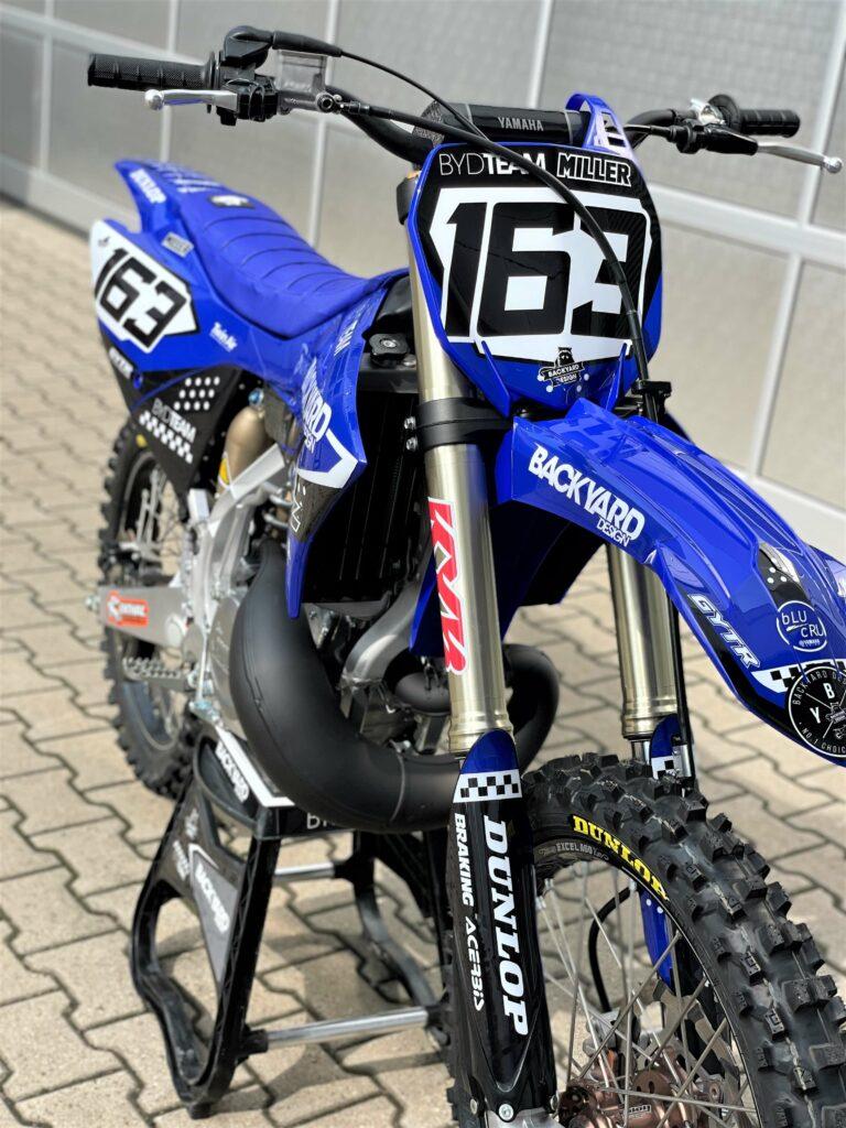 Front view Yamaha YZ125 YZ 250 2022 Dekor Graphics Sticker Kit Backyard Design