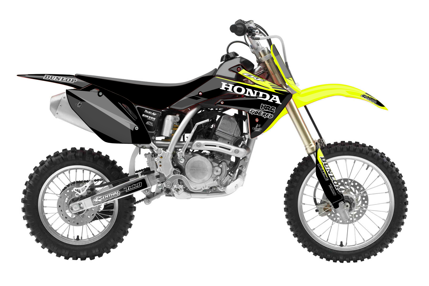 Honda CRF 150 MX Graphic Kits  A powerful four-stroke engine combines with a sturdy frame and the CRF 150 technology that promises a high performance. This bike is for all of those that have high ambitions.