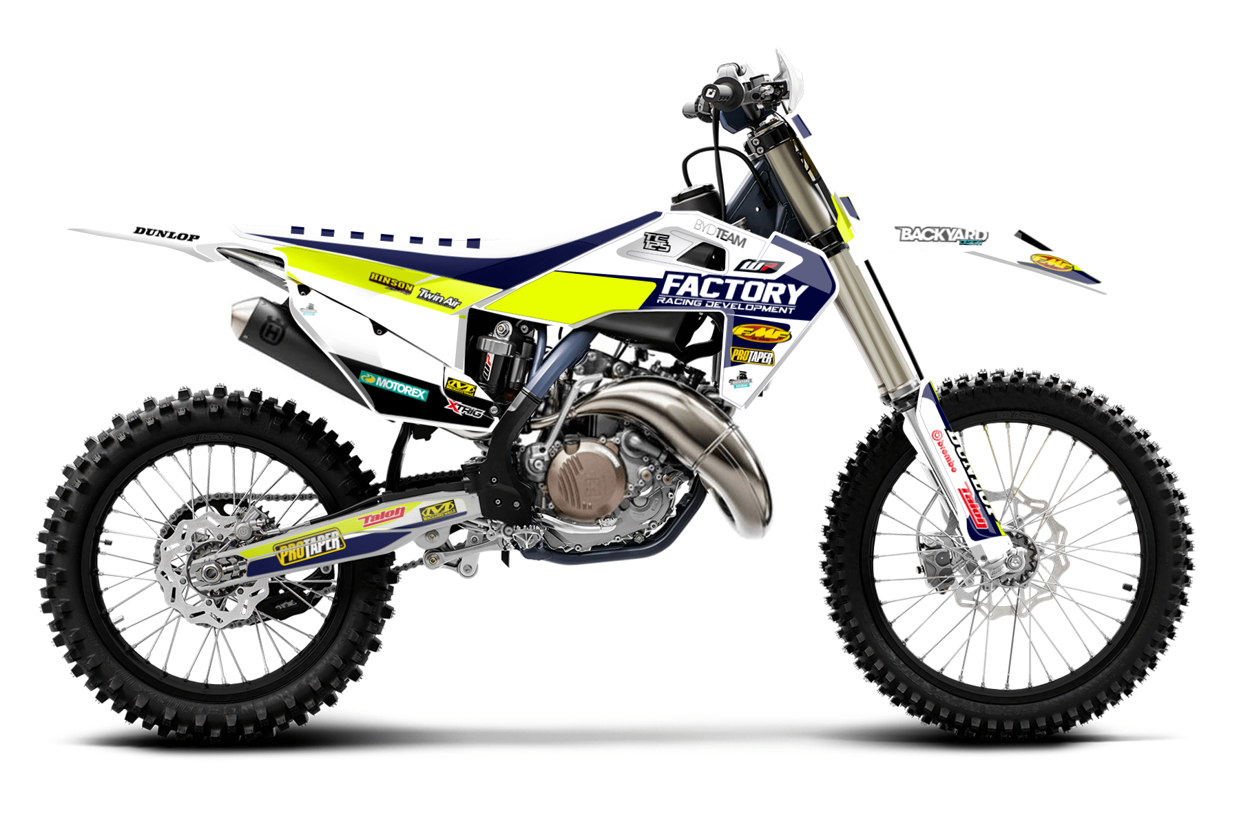 Husqvarna TC125 MX Graphic Kits  This two-stroke provides you with 45 hp of good to handle power and enough speed to challenge the competition. The blue and white design draws a lot of attention too.
