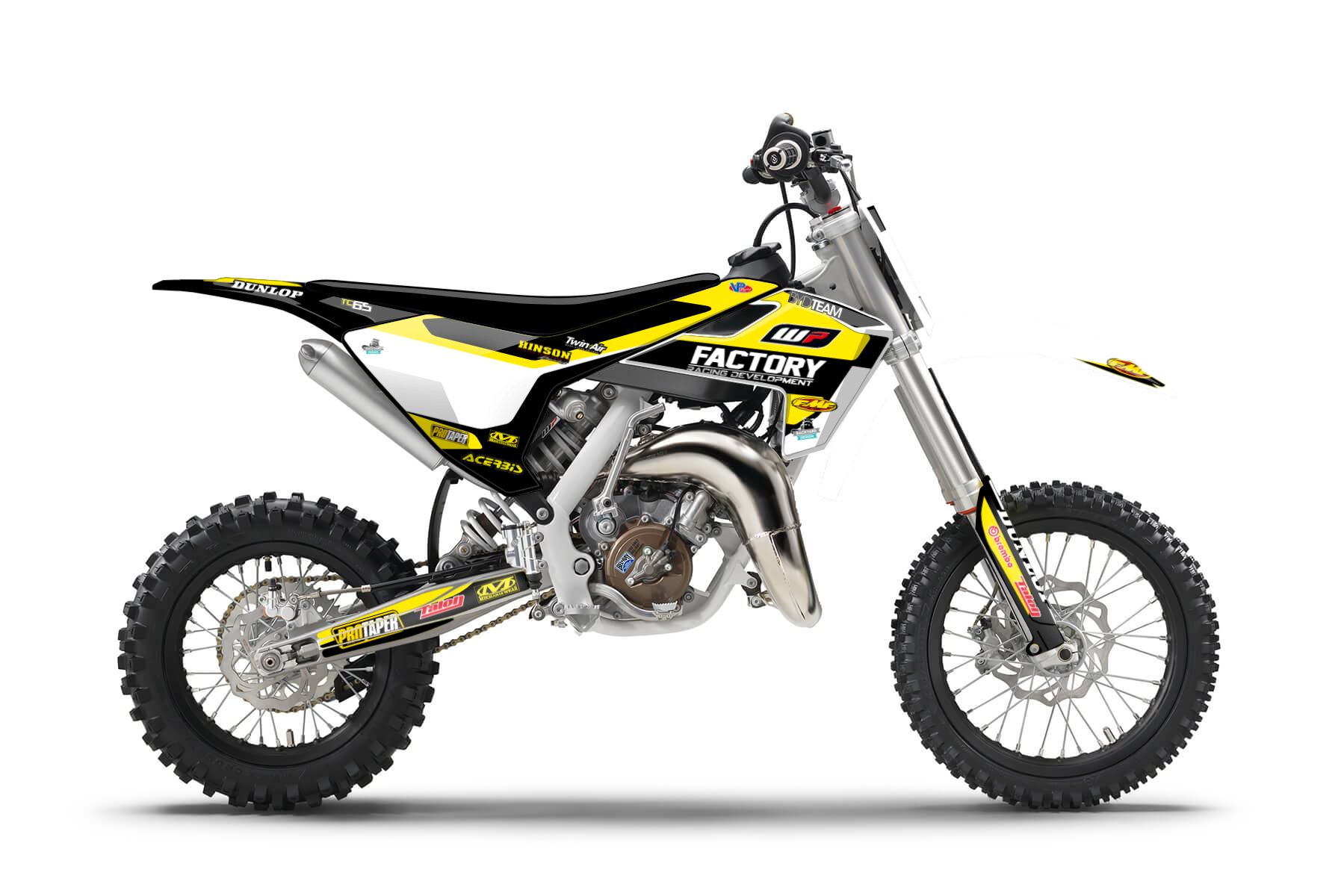 Husqvarna TC65 MX Graphic Kits  The Husqvarna TC65 is the perfect buddy to enter the world of MX. Your first sessions in the dirt will be as much fun as possible with this bike.