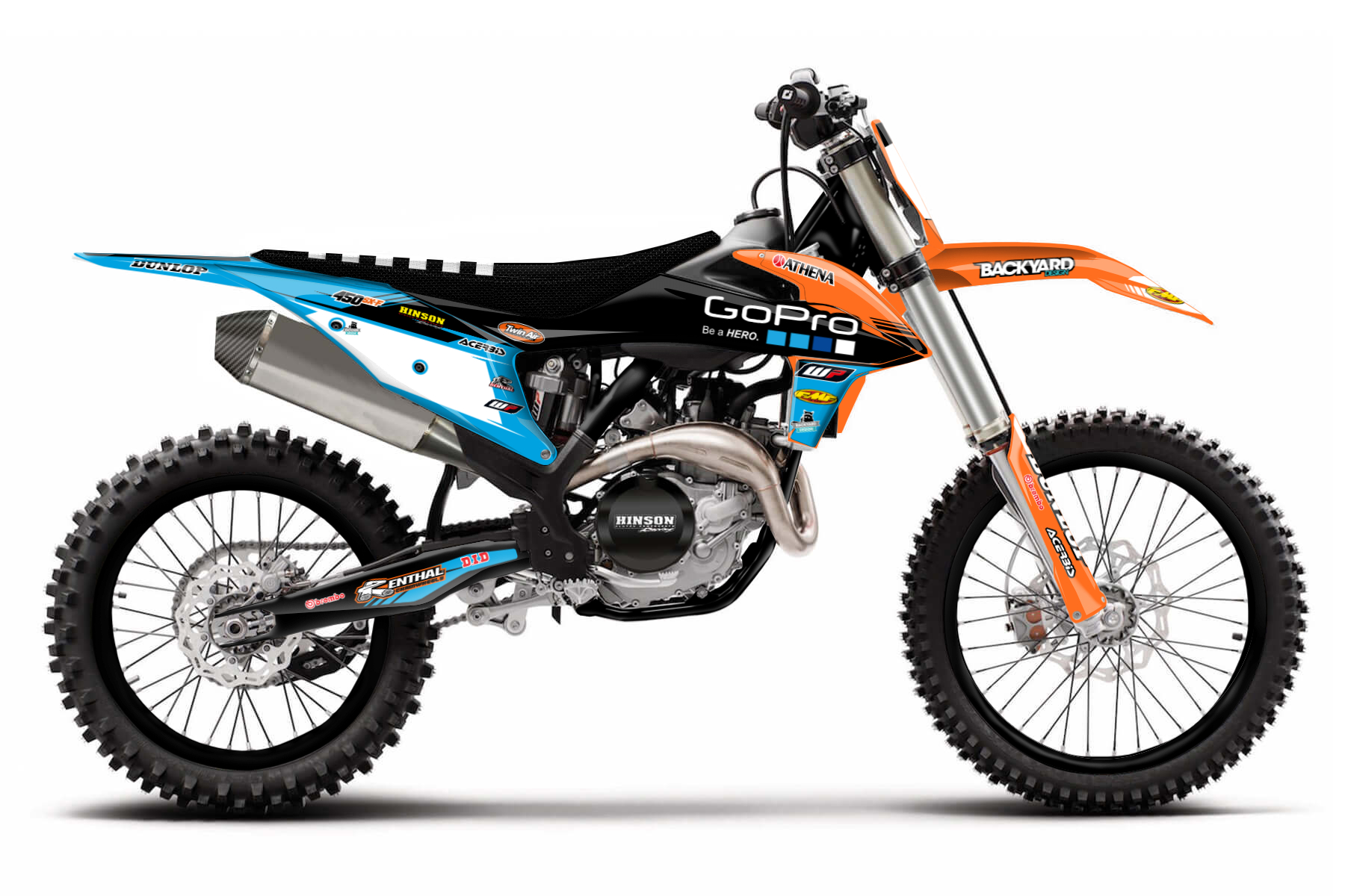 KTM SX-F 450 MX Graphic Kits  43 hp of raw power will make you look good on the track. This bike has already won numerous championships and will win many to come. If you seek for a factory bike – this is the closest you can get.
