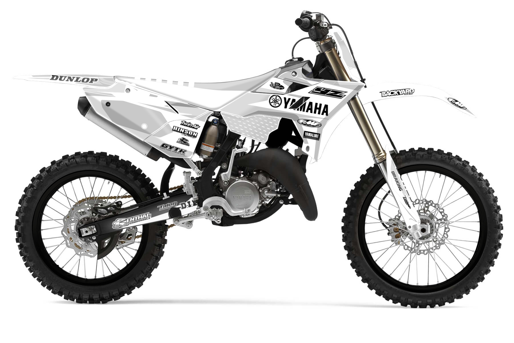 Yamaha YZ 125 – Racetech Revolution MX Graphic Kits  The Racetech Revolution plastic kit makes your Yamaha YZ 125 look even more aggressive and competitive. You got to love the style that matches perfectly with the bodywork of the bike